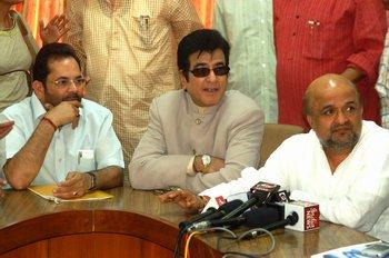2 (L) Mukhtar Abbas Naqvi, Jitendra & Sameer answering the media